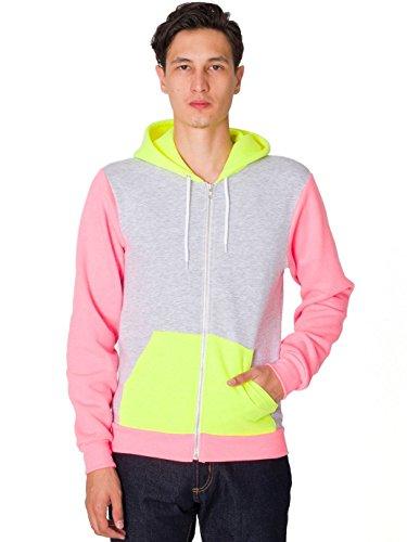 American Apparel Men Flex Fleece Color Block Zip Hoodie Size 2XL Dark Ash / Neon