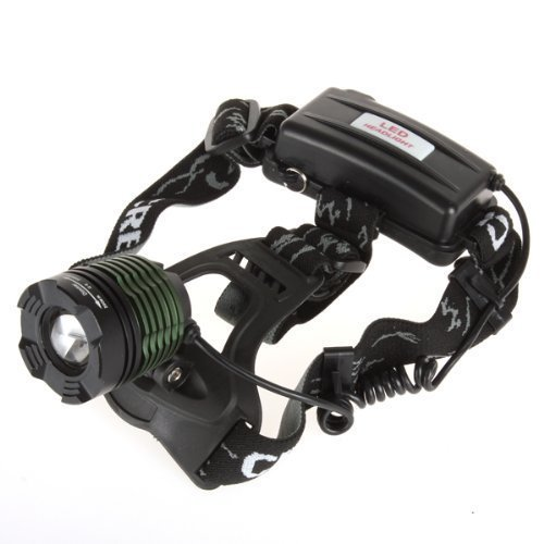 ON THE WAY(TM)1800 Lumens CREE XM-L T6 U2 LED Waterproof 3 Modes Design Zoomable Rotating Headlamp Headlight 18650 Rechargeable Battery Head LED Torch Flashlight with AC Charger and 2 x 3800mAh Rechargeable Batteries Portable LED Headlamp for Outdoor Hiking, Riding, Camping and Other Activities (Green-B)