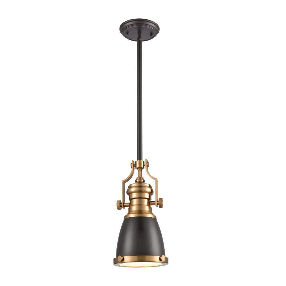Satin Brass Elk Lighting 66579-1 Pendant Light Oil Rubbed Bronze