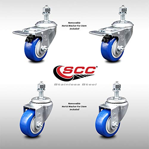 """Stainless Steel Polyurethane Swivel Threaded Stem Caster Set of 4 w/3"""" x 1.25"""" Blue Wheels and 1/2"""" Stems - Includes 2 with Total Locking Brake - 1000 lbs Total Capacity - Service Caster Brand"""