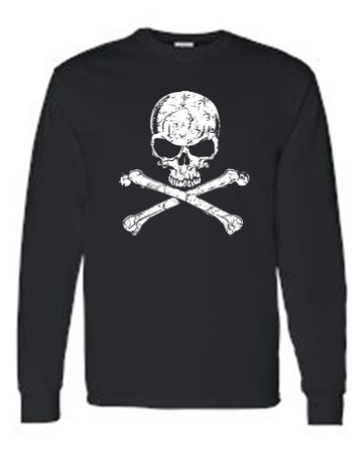 Black Bone Cross (SHORE TRENDZ Men's/Unisex Biker White Skull and Cross Bones BLACK Long Sleeve T-shirt (XL))