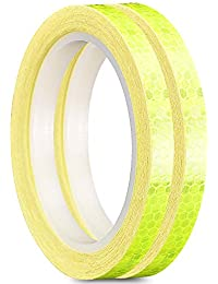 Reflective Tape Safety Warning Tapes Warning Sticker Adhesive Tape 1cm26ft (2 ROLL, Yellow)