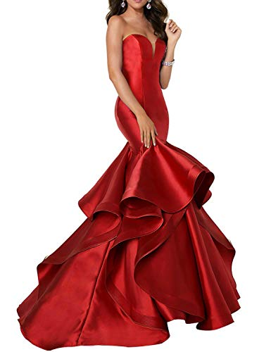 (Scarisee Women's Sweetheart Mermaid Prom Evening Dresses Tiered Formal Celebrity Party Gowns Sweep Train Red 02 )