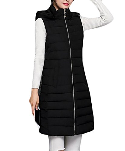 Vest Ladies Full Quilted Zip (ARRIVE GUIDE Women's Hooded Thicken Full Zip Quilted Puffer Long Down Vest Black X-Large)