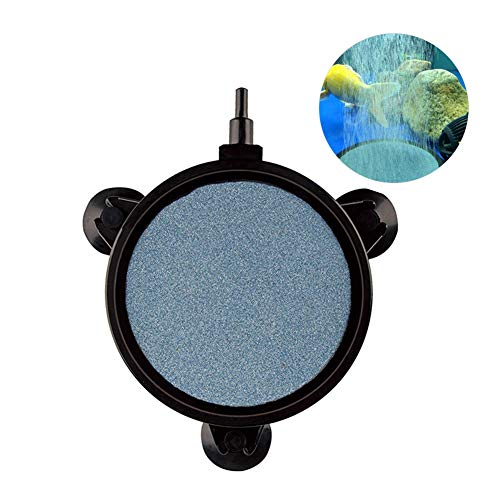 - MingDak 4 Inch Air Stone Disc, Aquarium Bubbler Diffuser, Flat Round Black Silicon Carbide Oxygen Tank Bubbler with Suction Cups for Aquarium Fish Accessories
