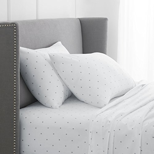 Pinzon 170 Gram Flannel Sheet Set - King, Grey Dot