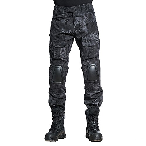 SINAIRSOFT Tactical Pants with Knee Pads Army Airsoft Combat BDU Pants Typhon (Pants,Small+)