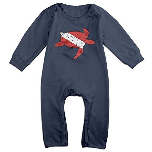 Mri-le1 Baby Boy Girl Organic Coverall Sea Turtle Shaped Scuba Dive Flag Infant Long Sleeve Romper ()