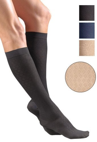Activa H2742 Sheer Therapy Womens Diamond Pattern Trouser Socks 15-20 mmHg - Size & Color- Navy Medium