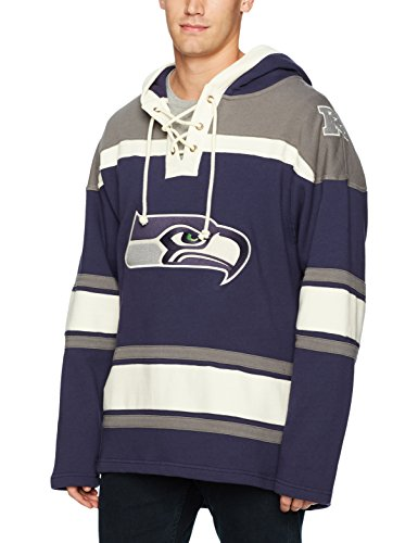 NFL Seattle Seahawks Men's Ots Lacer Pullover Hood, Small, Light Navy -