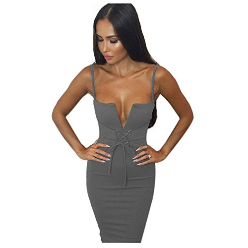 SODIAL(R) New Womens Lace Up Sexy Bodycon Dress Deep V-neck Spaghetti 6b7bbe1ce