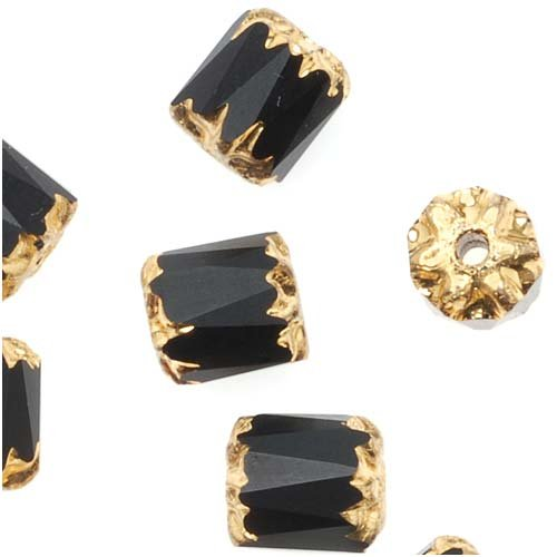 Jablonex Czech Cathedral Glass Beads 6mm Matte Jet Black with Gold Ends (25)