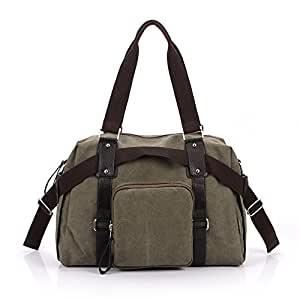 Men and Women Fashion Casual Canvas Shoulder Bag Messenger Bag (Army Green)