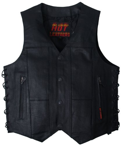 Hot Leathers Men's Ten Pocket Leather Vest (Black, X-Large)