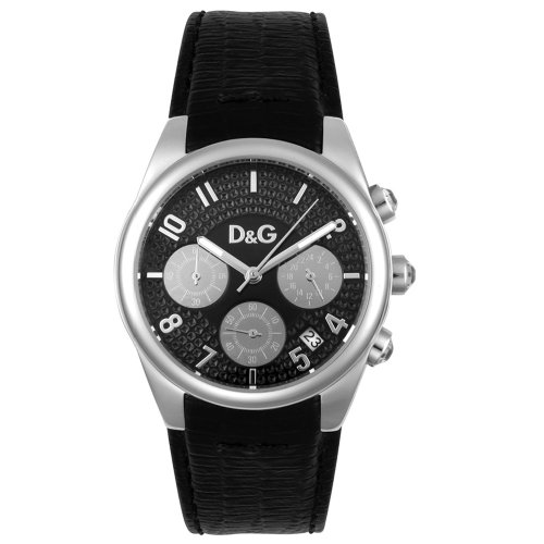 D&G Dolce & Gabbana Women's DW0259 Sandpiper Chronograph Black Leather Watch