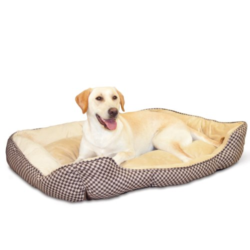 K&H Pet Products Self-Warming Lounge Sleeper Pet Bed Large Brown Square Print 32' x 40'