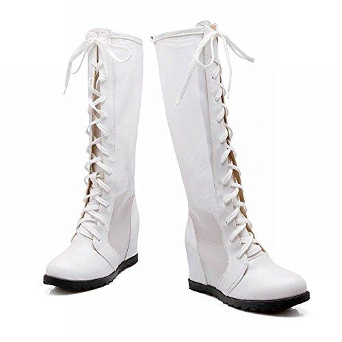 Carolbar Mujeres Lace Up Malla Cosplay Cosplay Gothic Lolita Estilo Wedge Heel Summer Tall Dress Botas Blanco
