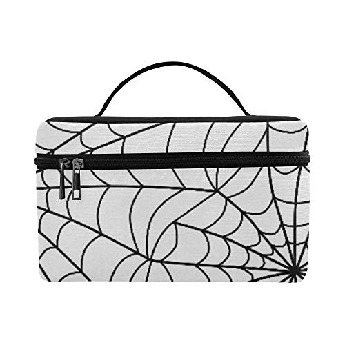 Halloween Black Grey Spider Web Large Capacity Size Lady Cosmetic Bag Makeup Organizer Lunch Box Train Toiletry Case For Girls Teen Women Travel With Clear Zipper And Single Layer ()