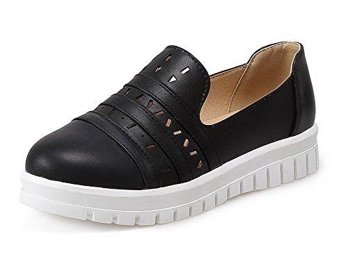 AllhqFashion Damen Rein Ziehen auf Rund Zehe Niedriger Absatz Pumps Schuhe Schwarz