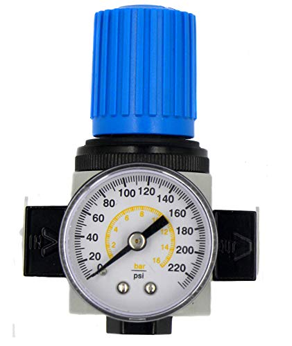 - NANPU LR-1/4 Mini Air Regulator with Steel-Protected Gauge 1/4