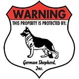 Warning! German Shepherd Dog Aluminum Sign - Badge Shape