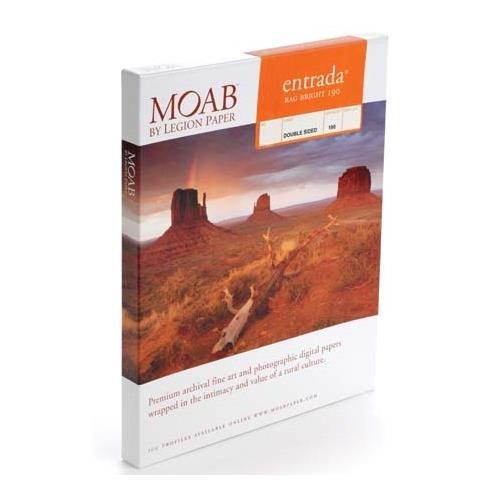 Moab Entrada Rag Fine Art, 2-Side Bright White Matte Inkjet Paper, 15.5 mil., 190gsm, 11x17'', 25 Sheets. by Moab