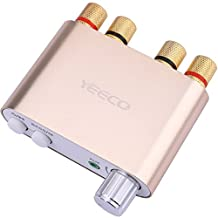 Yeeco Hifi Mini Bluetooth Amplifier 50W+50W DC 9-24V Dual Channel Wireless Bluetooth Stereo Audio Receiver Power Amp Ampli Board with US-type Power Supply Adapter for Home Sound Audio System Computer Laptop (Gold)