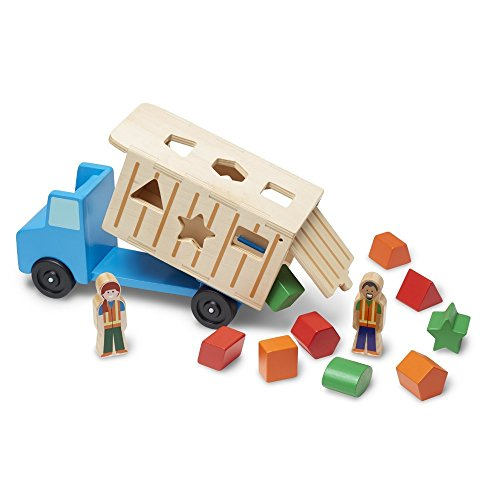 "Melissa & Doug Shape-Sorting Wooden Dump Truck Toy, Quality Craftsmanship, 9 Colorful Shapes and 2 Play Figures, 7.5"" H x 10.75"" W x 4.75"" L from Melissa & Doug"