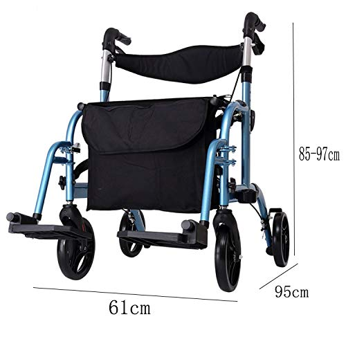 Stand Up Rollator Walker, Adjustable Handle Height with Upholstered Seat and Lower Basket Auxiliary Walking Safety Walker (Size : Blue-B) by YL WALKER (Image #2)