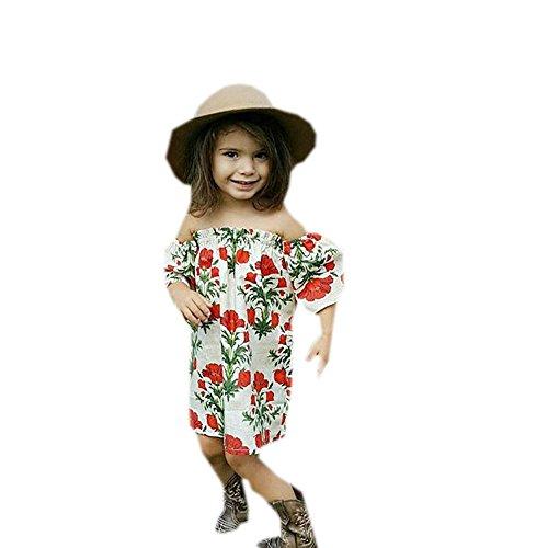 OMINA Toddler Kids Girls Floral Print Princess Dress