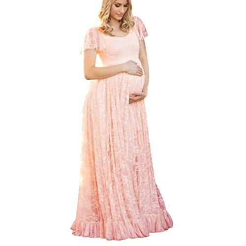 (Maternity Floral Lace Dress Maxi Split V Neck Flying Sleeves Front Maternity Gown Bridesmaid Pregnant Long Dress for Photos Shoot,Plus Size (S-4XL) -MOONHOUSE (M, Pink))