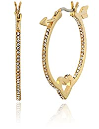 kate spade new york Clear/Gold-Tone Heart and Arrow Hoop Earrings