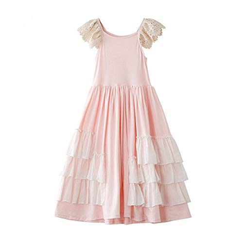 Girls Ruffles Maxi Dress Pink Color Halter Lace Fly Sleeve Cotton Party Dress Skirts (Light Pink, ()
