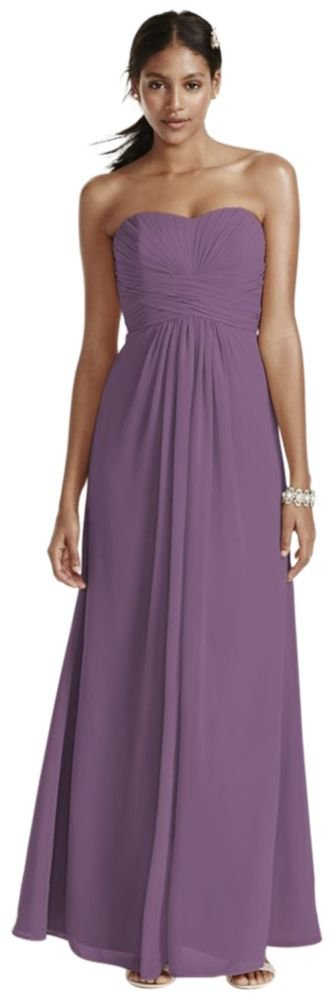 David's Bridal Long Strapless Chiffon Bridesmaid Dress and Pleated Bodice Style F15555. by David's Bridal