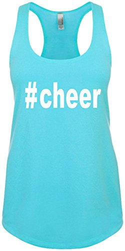 Junior's Funny Tank Top Size S (#Cheer (Hashtag Tee Shirt) Ladies Shirt