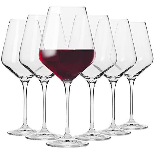 KROSNO Rode Wijnglazen | Set van 6 | 490 ML | Avant-Garde Collectie | Kristalglas | Perfect voor Thuis, Restaurants en…