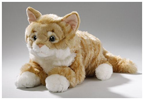 Cat lying brown tabby, 14 inches, 35cm, Plush Toy, Soft Toy, Stuffed (Brown Tabby Cat)