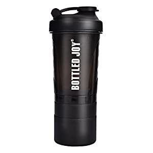 BOTTLED JOY Protein Shaker Bottle with 3-Layer Twist and Lock Storage, 100% BPA-Free Leak Proof SportMixer Fitness Sports Nutrition Supplements Non-slip Mix Shake Bottle 20oz 600ml