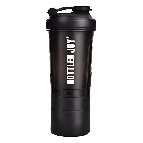Supplement Shake Mix (BOTTLED JOY Protein Shaker Bottle with 3-Layer Twist and Lock Storage, 100% BPA-Free Leak Proof SportMixer Fitness Sports Nutrition Supplements Non-slip Mix Shake Bottle 20oz 600ml)