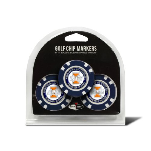 Team Golf NCAA Illinois Fighting Illini Golf Chip Ball Markers (3 Count), Poker Chip Size with Pop Out Smaller Double-Sided Enamel Markers
