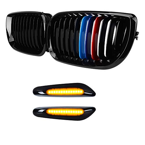 Astra Depot Gloss Black M-Color Front Kidney Grille w/ T10 Smoked Turn Signal Indicator Side Marke Light Compatible with BMW 2002-2005 E46 320i 325i 330i 4DR LCI
