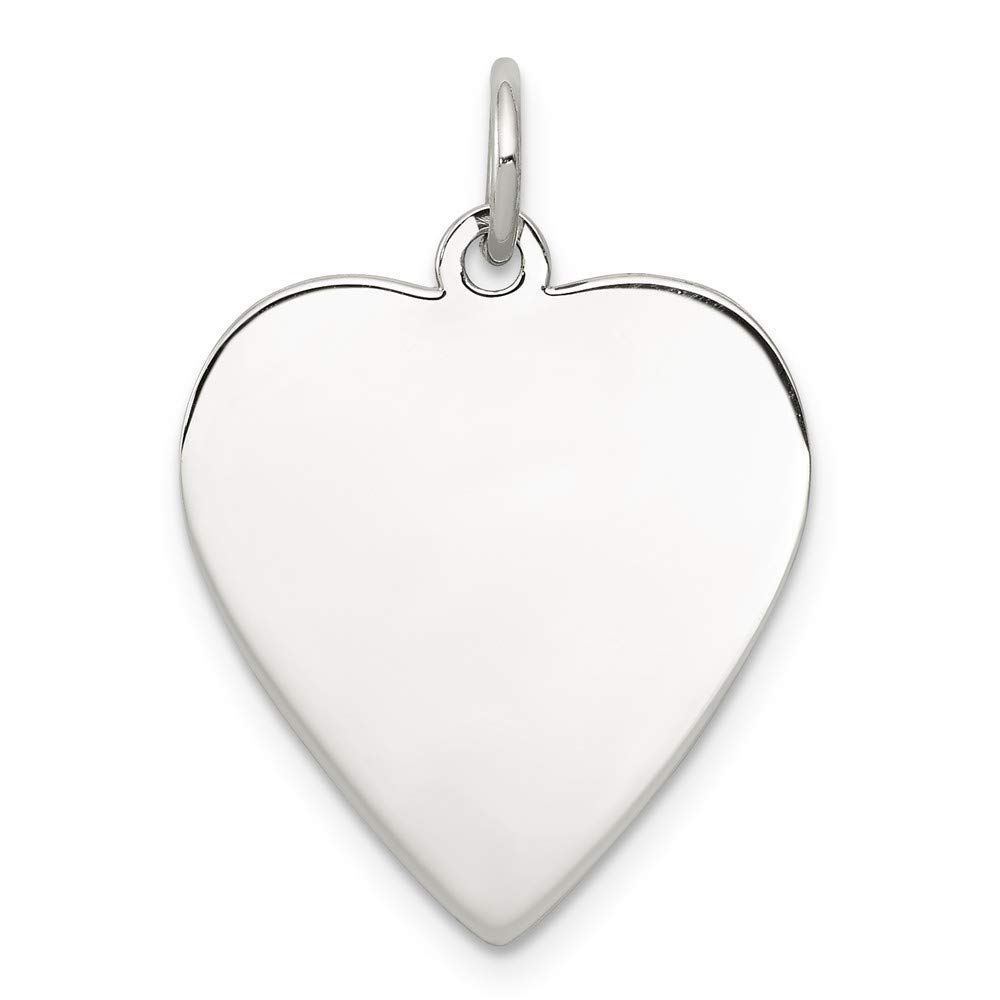 925 Sterling Silver Rhodium Plated Engraveable Heart Polished Front Back Disc Charm