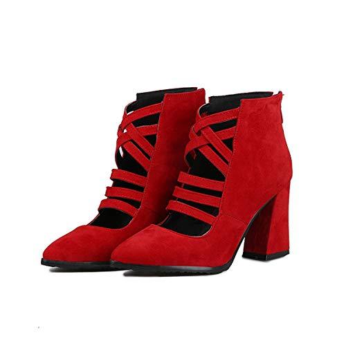 Suede Scarpe Pelle Womens Scamosciata Cavallo 35eu Mano red Donna Tacchi Punta A Scarpa Quadrato Alti Spessore Shoes Red Tacco Di Da BnwSqr8xEw