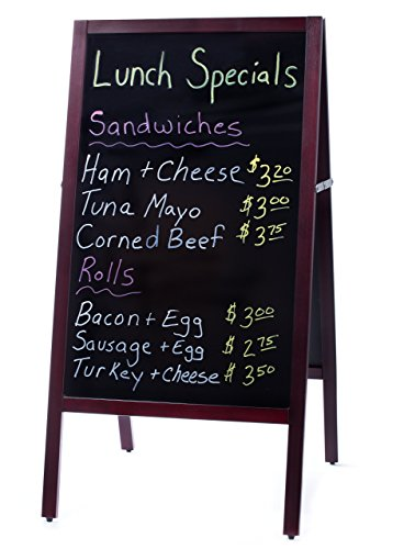 Large A-Frame Chalkboard Sidewalk Advertising Sign with Double-Sided Easy Erase Writing Surface | Outdoor Sandwich Menu Board with Classic Mahogany Finish. Includes Eraser Floor Marker Sign