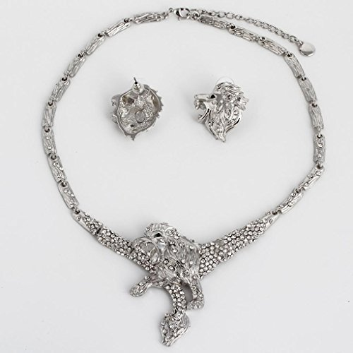 Ever Faith - Plaqué Argent Lion Collier Boucle d'Oreilles Parures Transparent Cristal Autrichien N03329-2