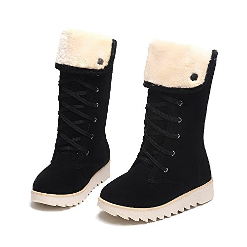Allhqfashion Women's Lace-up Low-Heels Imitated Suede Solid Mid-top Boots Black dvNhXd