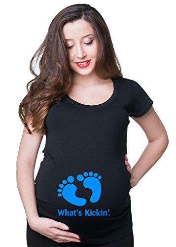 What's Kickin Maternity T-shirt Pregnancy jersey XX-Large Black