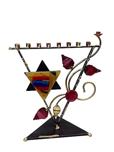 Metal and Fused Glass Menorah By Gary Rosenthal - Triangle Tree of Life -