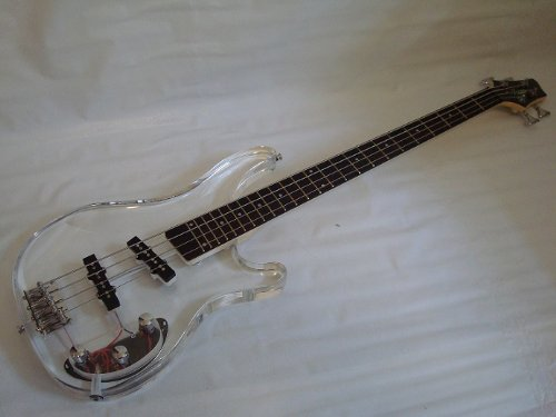 Ktone 4 String Clear Body Lucite Electric Bass Guitar with Free Gig Bag - Brand New
