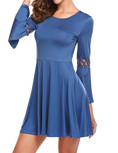 Meaneor Damen Elegant Maxikleid Abendkleid Cocktailkleid Langarm Rundhals Trompetearm Kleid Silm Fit Kleider Skaterkleid Glockenarm kleid blau kleid blue Dress